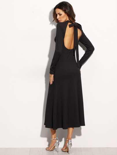 Black Tie Cut Out Back Long Sleeve Dress