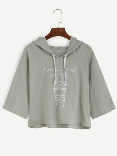 Coffee Cup Slogan Print Drawstring Hooded Tee