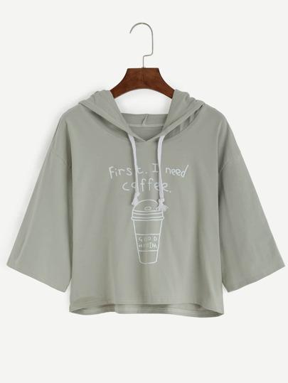 Coffee Cup Slogan Print Drawstring Hooded T-shirt