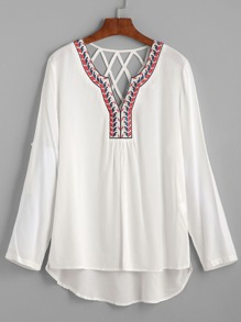 White Dip Hem Embroidered Lattice Back Blouse