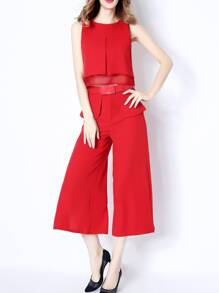 Red Elegance Top With Belted Pants