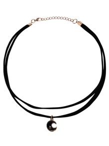 Black Two-Layer Bead Pendant Choker Necklace