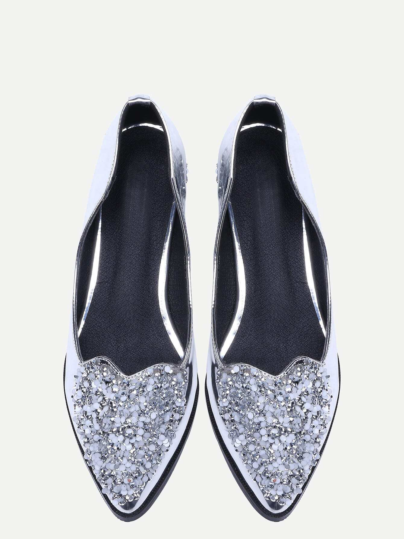 silver patent leather sequins shoes shein sheinside