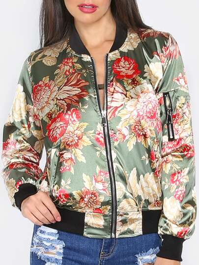 Olive Green Flower Print Zip Up Silky Bomber Jacket