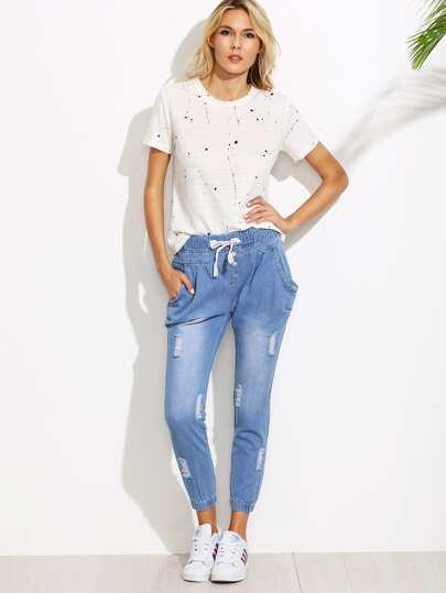 Ripped Drawstring Waist Harem Jeans