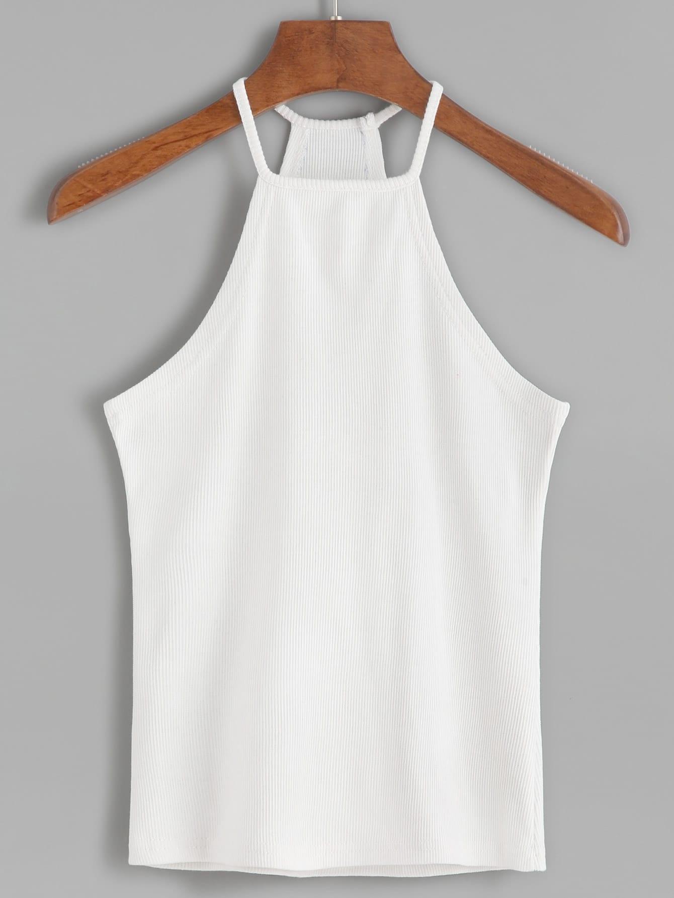 White Halter Ribbed Cami Top vest160819001