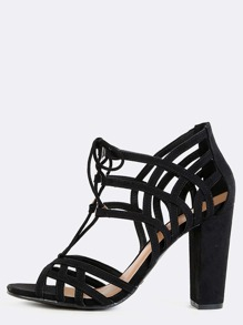 Lattice Cut Out Tie Chunky Heels BLACK