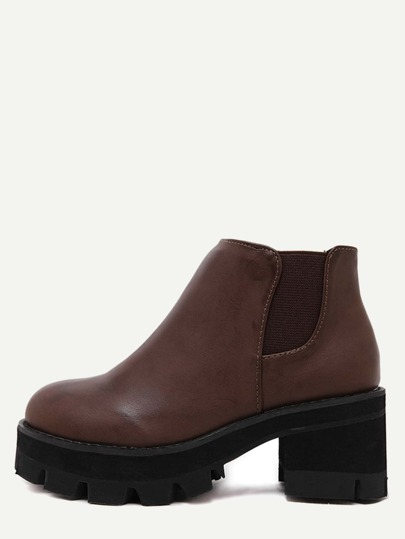 Brown PU Round Toe Elastic Ankle Boots