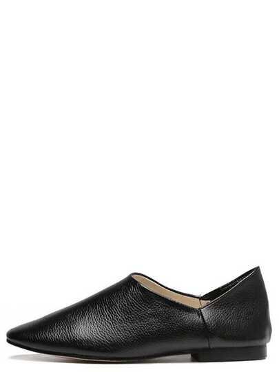 Black Square Toe Faux Leather Slip On Flats