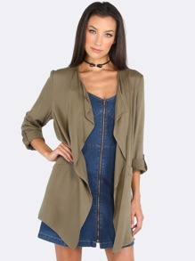Lapel Sleeved Jacket OLIVE