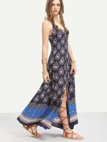 Multicolor Print Spaghetti Strap Split Boho Maxi Dress