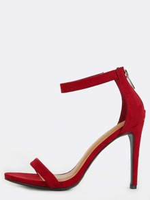 Ankle Strap Single Sole Heels CRIMSON