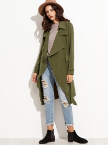 Olive Green Wrap Trench Coat With Gun Flap Detail