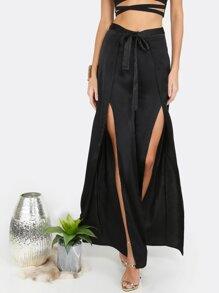 Pantalones con aberturas - negro