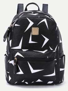 Sac à dos imprimé triangles zippé avec poches - noir