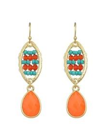Orange Rhinestone Beads Earrings