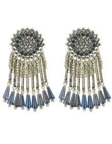 Silver Rhinestone Big Earrings