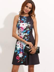 Multicolor Floral Sleeveless A Line Dress
