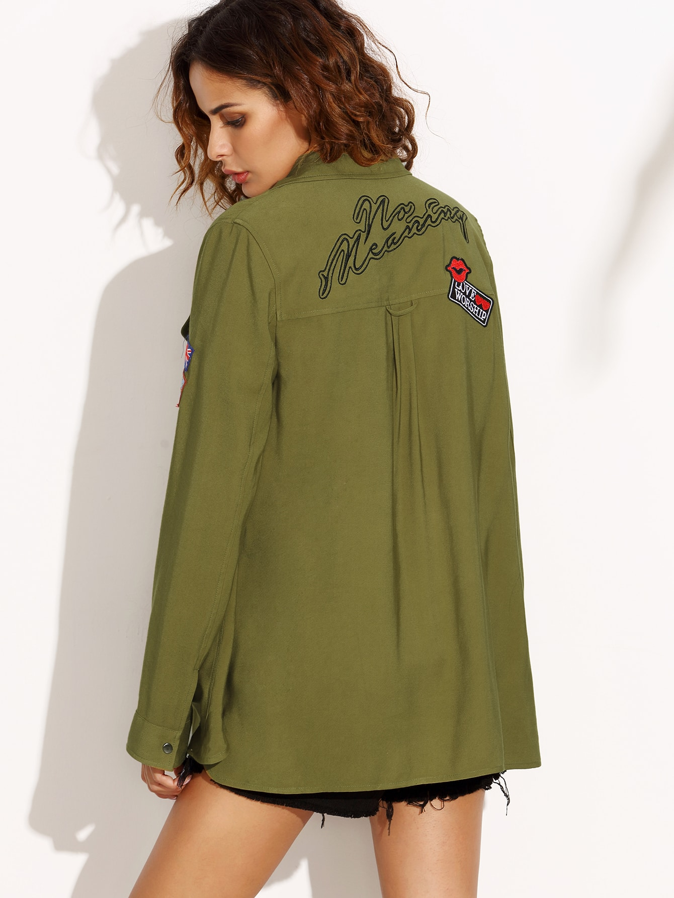 Olive Green Military Shirt Jacket With Embroidered Patch Detail