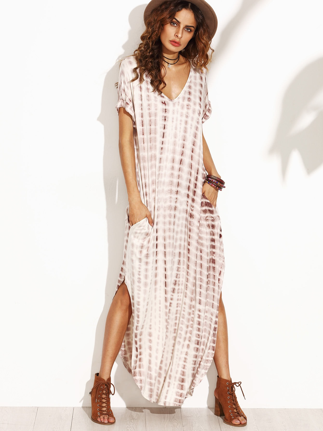 Tie Dye Print Split Curved Hem Dress