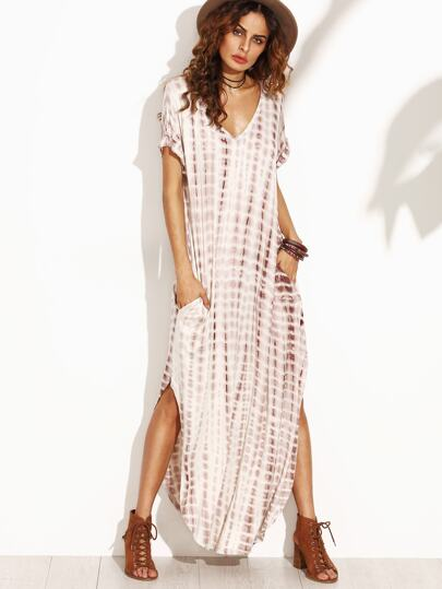 Tie Dye Print Split Curved Hem Dress