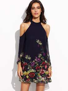 Flower Print Keyhole Halter Neck Cold Shoulder Dress