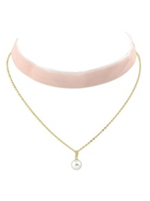Pink Gothic Wide Velvet Choker Chain Necklace