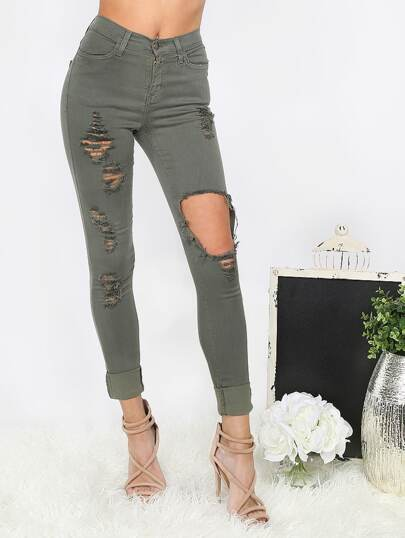Olive Green Ripped Cuffed Pants