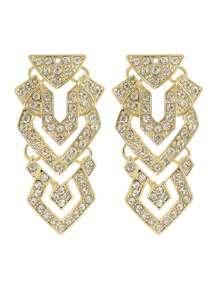 Rhinestone Long Hanging Stud Earrings