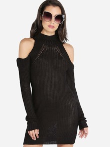 Knitted Turtleneck Cold Shoulder Dress BLACK