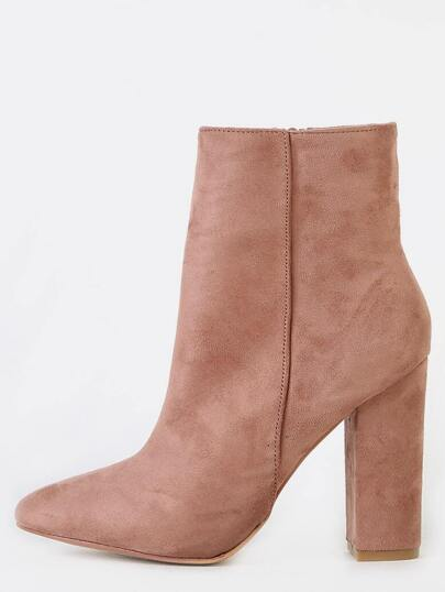 Pointed Toe High Shaft Ankle Boots BLUSH