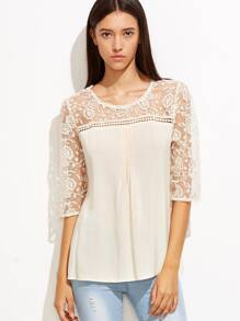 Apricot Lace Crochet Sheer Sleeve Blouse