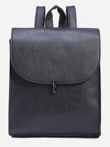 Black Pushlock Closure Structured Flap Backpack