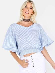 Flutter Sleeve Stripe Top BLUE