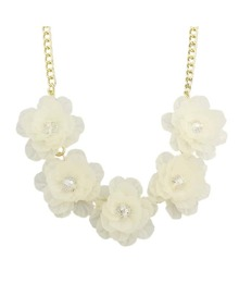 White Chunky Resin Flower Necklace