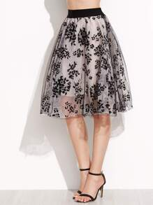 Floral Print Sheer Organza Contrast Elastic Waist Skirt