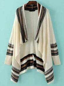 Beige Striped Ribbed Trim Poncho Sweater