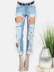 Light Washed Destroyed Mom Jeans DENIM