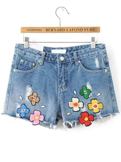 Blue Embroidery Raw Hem Denim Shorts