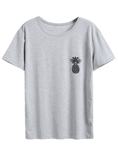 Grey Pineapple Print T-shirt