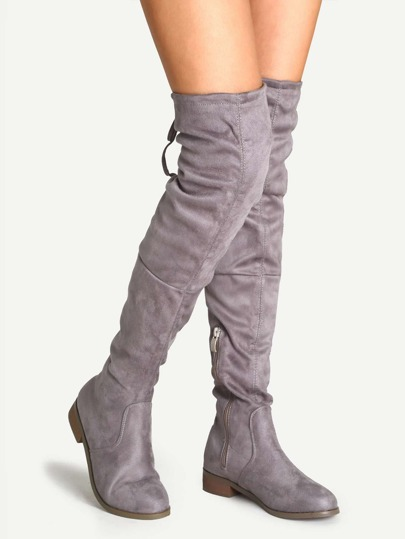 Grey Suede Over The Knee Zipper Boots