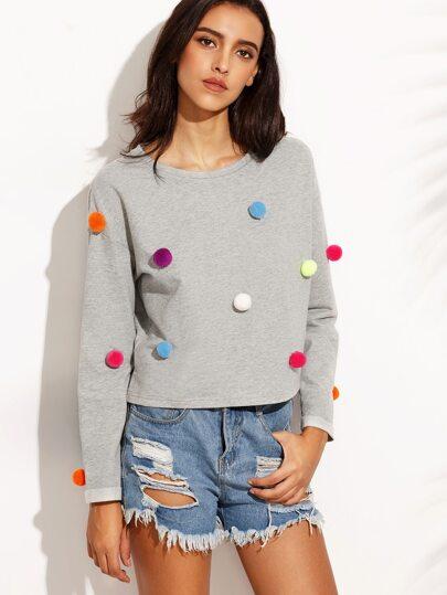 Drop Shoulder Pom Pom Detail T-shirt