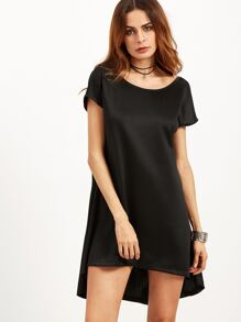 Black V Neck Back High Low Dress