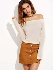 Apricot Ribbed Trim Off The Shoulder Sweater