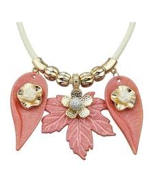 Pink Leaf Flower Pattern Collar Necklace