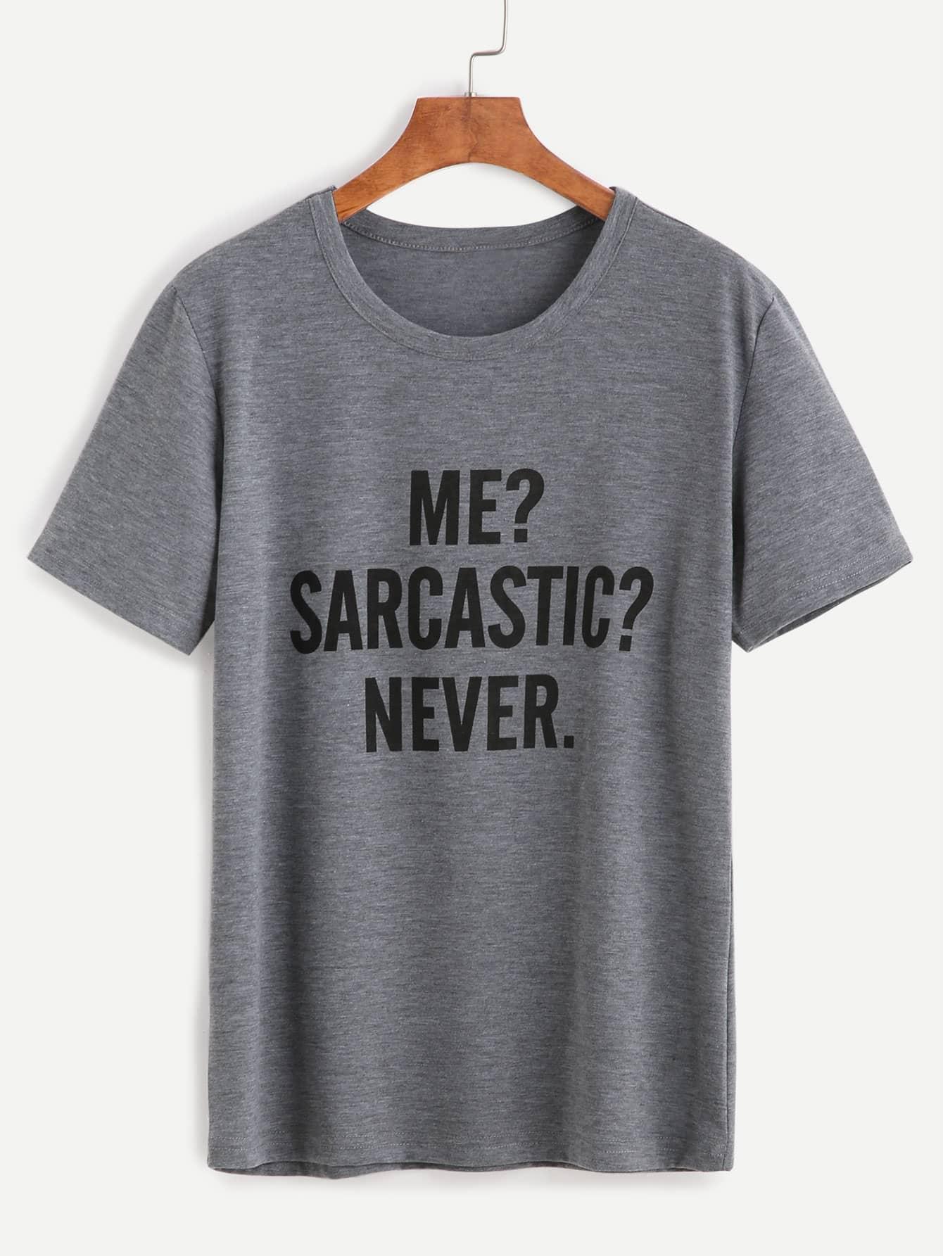 Slogan Print T-shirt -SheIn(Sheinside)