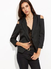Black Vertical Striped Open Shoulder Single Button Blazer