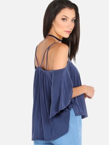 Circle Flow Cold Shoulder Cami Top BLUE