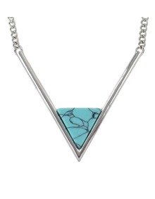 Silver Chain Triangle Turquoise Necklace