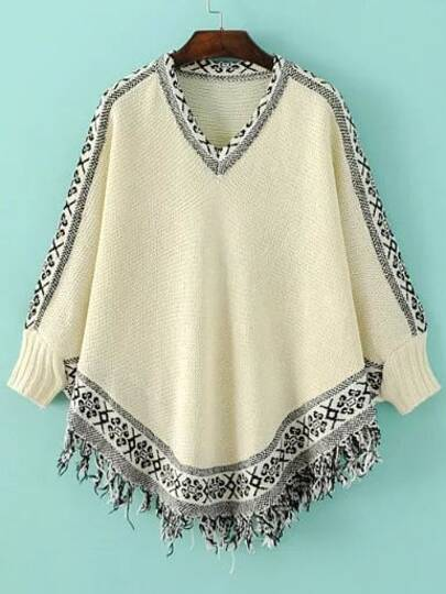 Beige Tribal Pattern Fringe Cape Sweater